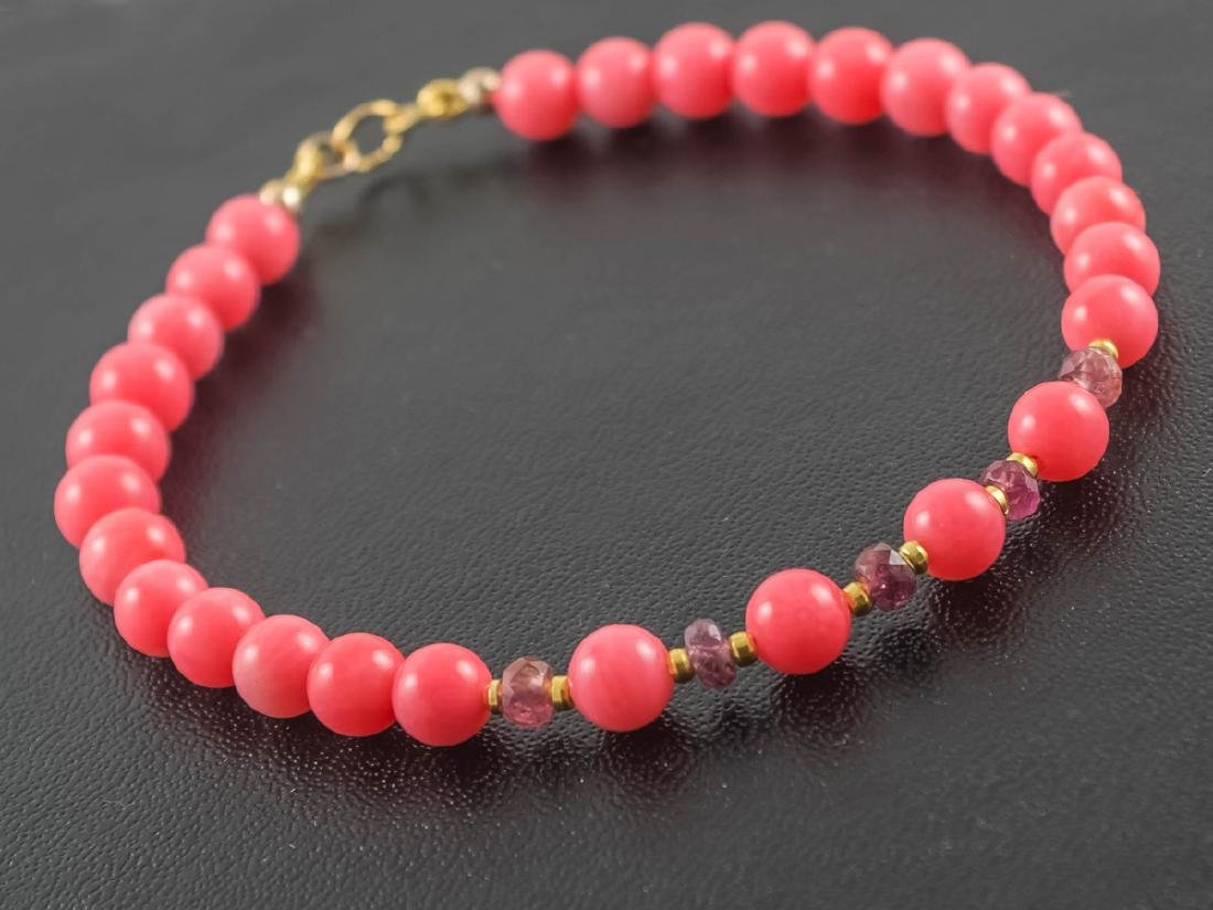 Pink Coral and Sapphires Bracelet - 3