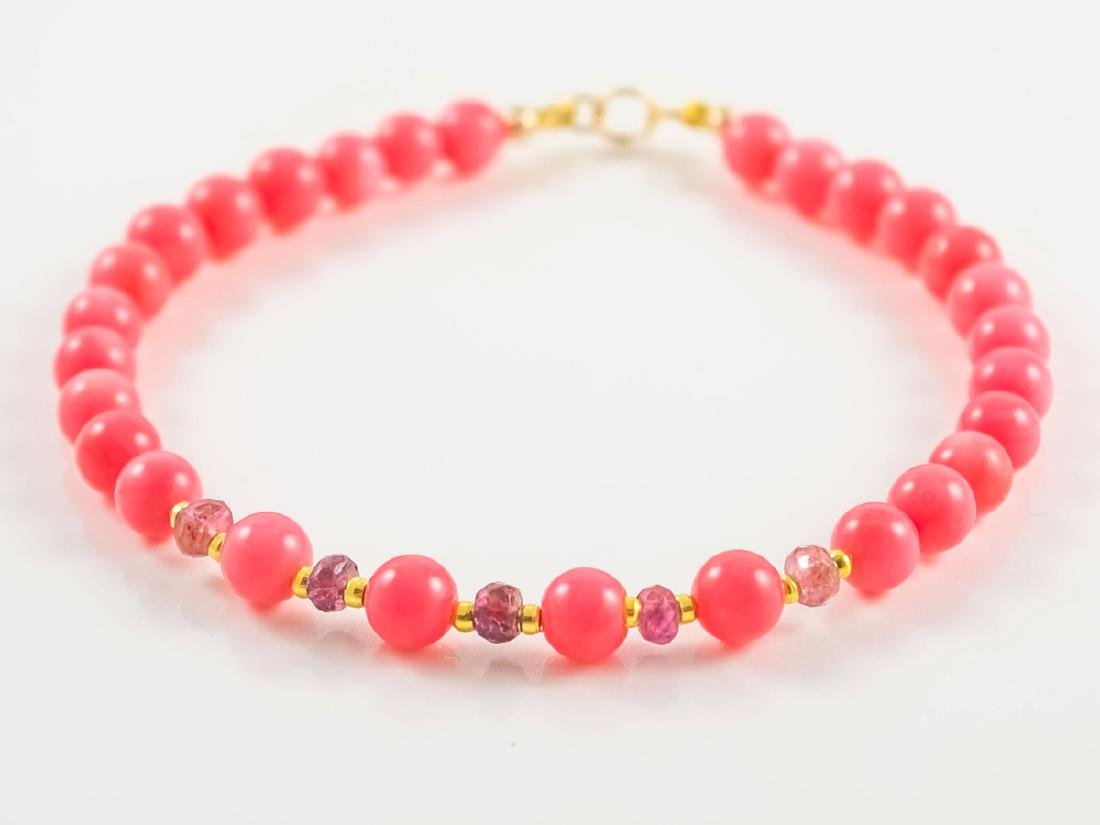 Pink Coral and Sapphires Bracelet - 4