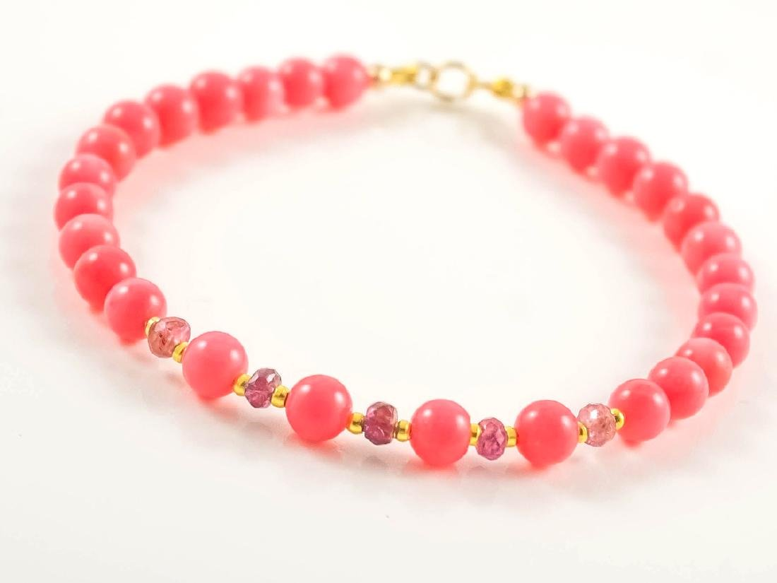 Pink Coral and Sapphires Bracelet - 5