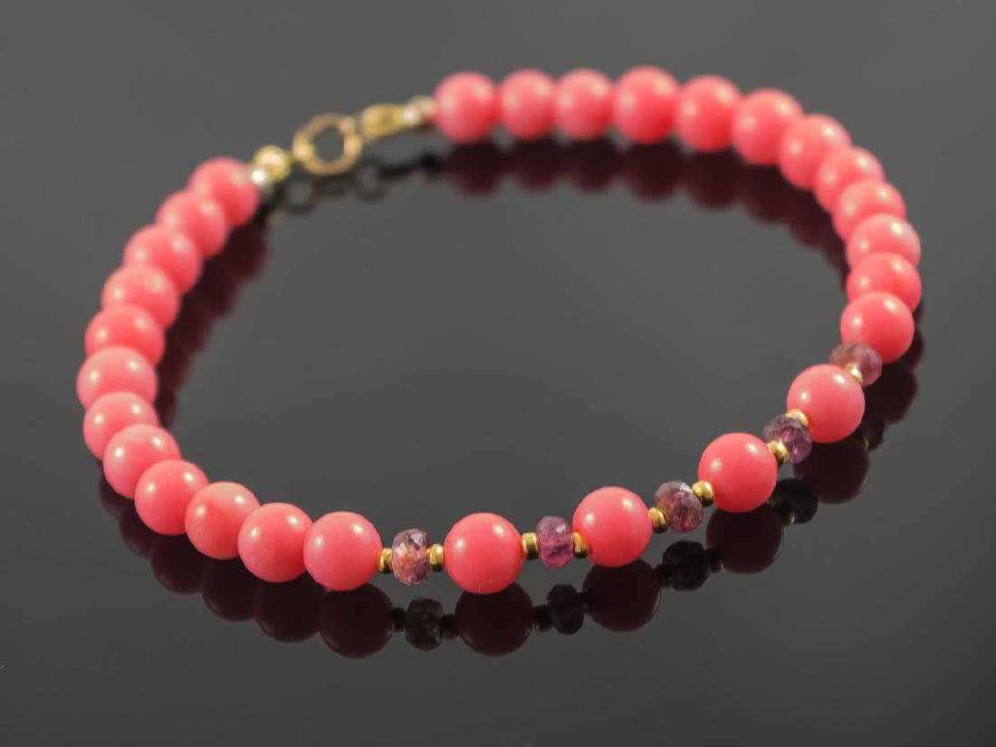 Pink Coral and Sapphires Bracelet - 6