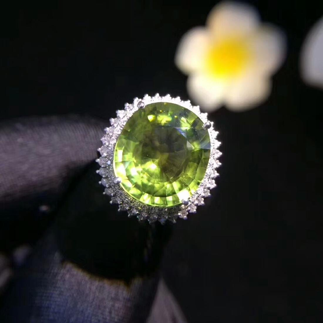 6.8ct Tourmaline Ring in 18kt White Gold
