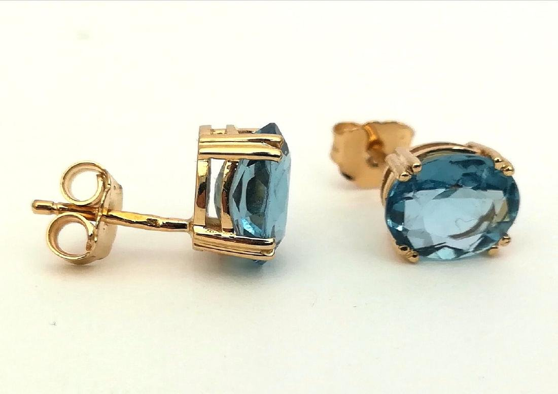 Earrings gold 19.2 carats With Topaz 10x8mm - 4 grams