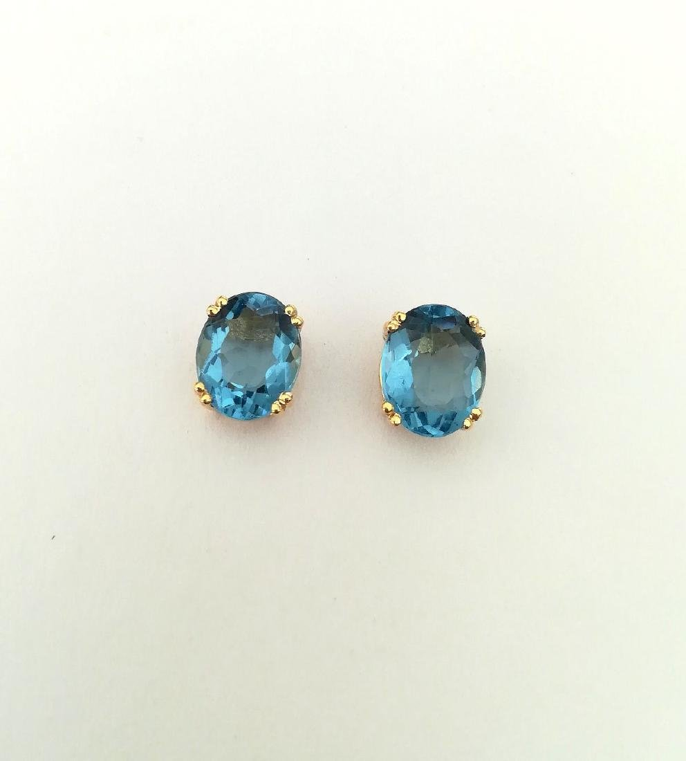 Earrings gold 19.2 carats With Topaz 10x8mm - 4 grams - 2