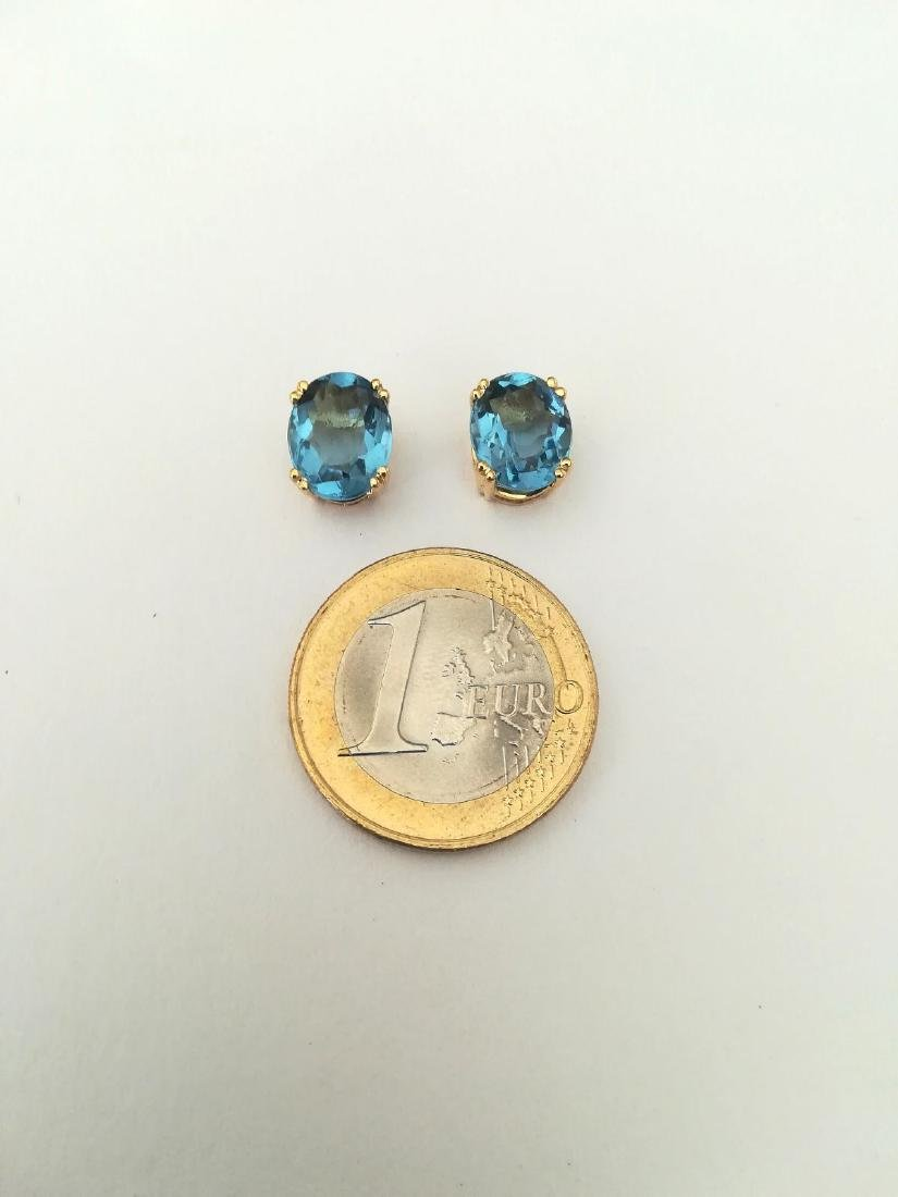 Earrings gold 19.2 carats With Topaz 10x8mm - 4 grams - 5