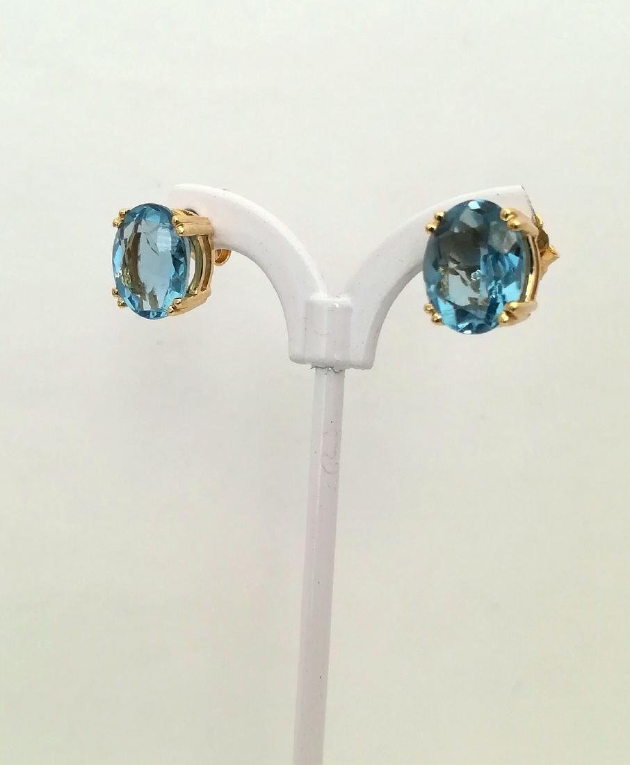 Earrings gold 19.2 carats With Topaz 10x8mm - 4 grams - 9