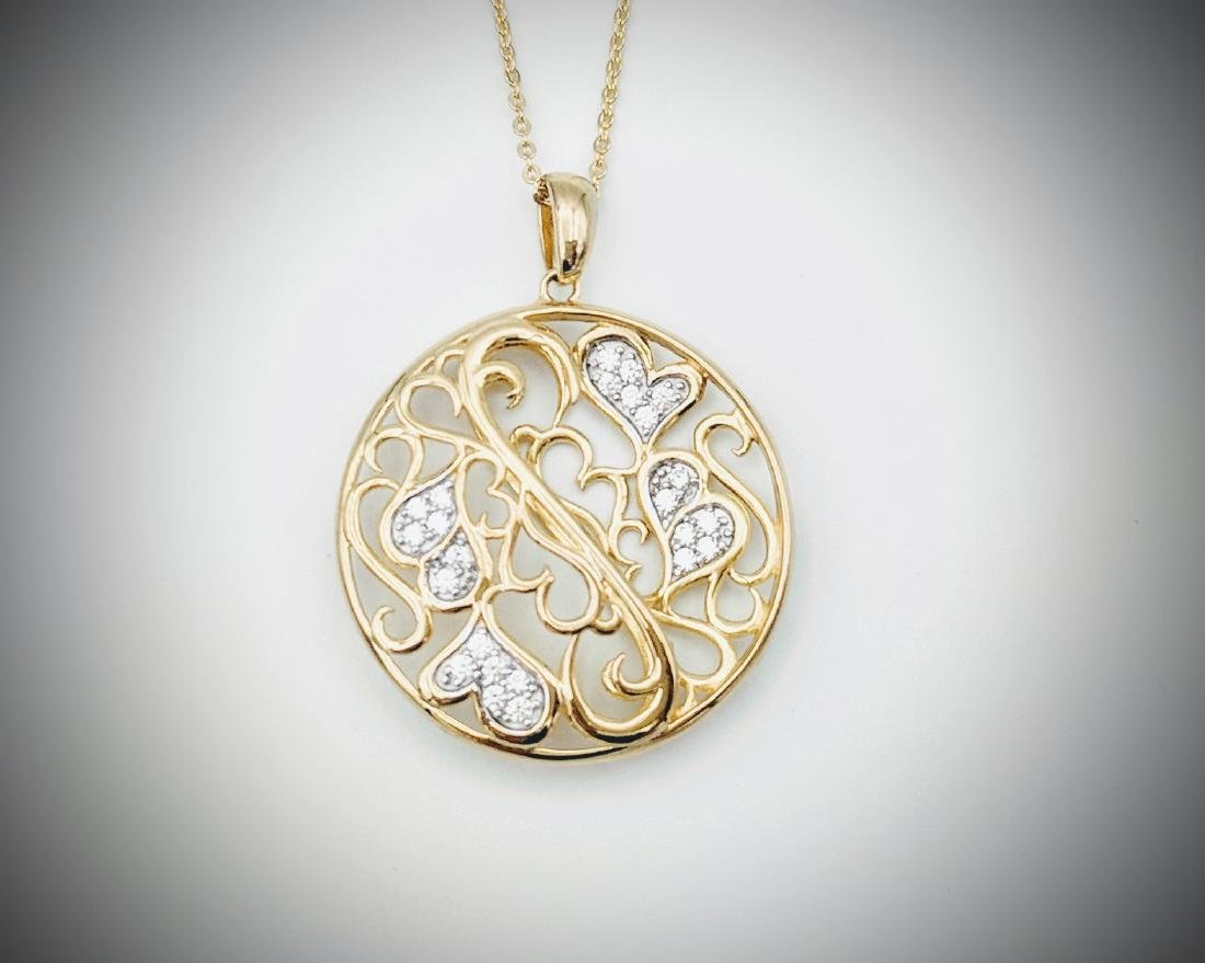 Gold Plated Necklace with Swirling Hearts Designed