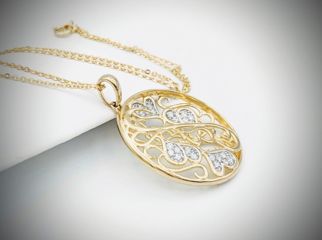 Gold Plated Necklace with Swirling Hearts Designed - 4
