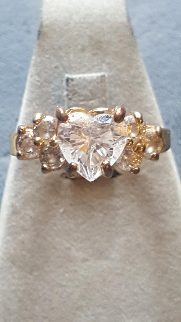 Gold Heart CZ Ring