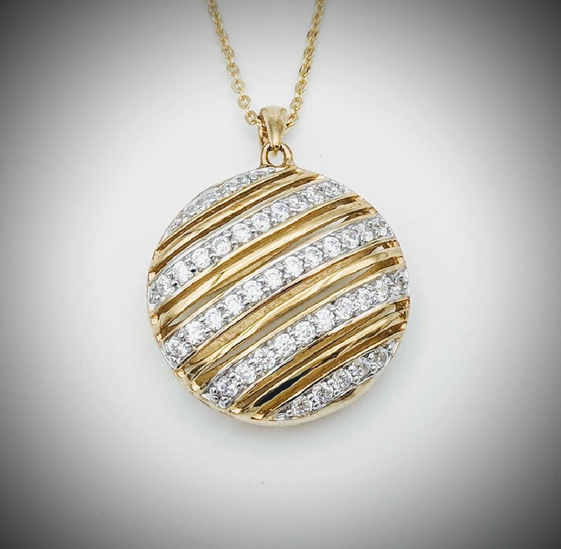 Gold Plated Necklace and Pendant with Cubic Zirconia