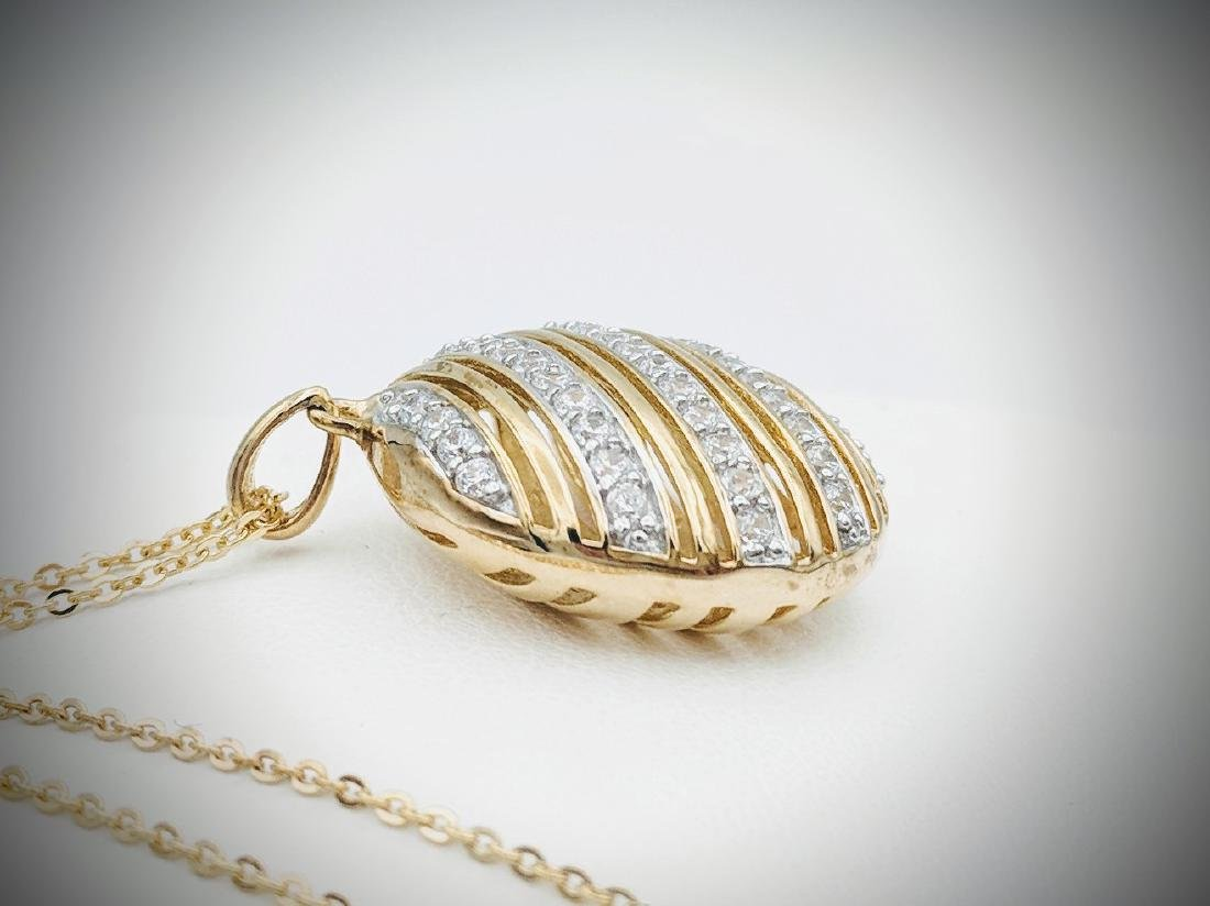 Gold Plated Necklace and Pendant with Cubic Zirconia - 3