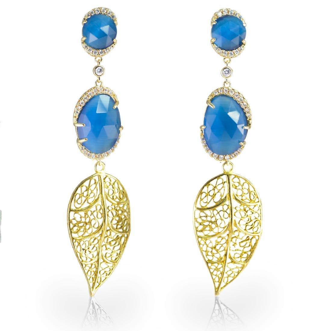 Blue Leaf Long Earrings
