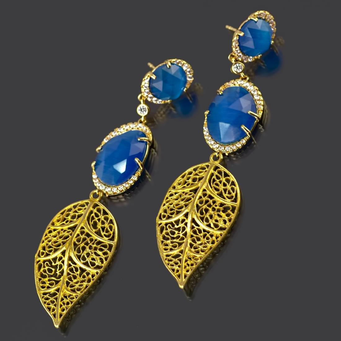 Blue Leaf Long Earrings - 2