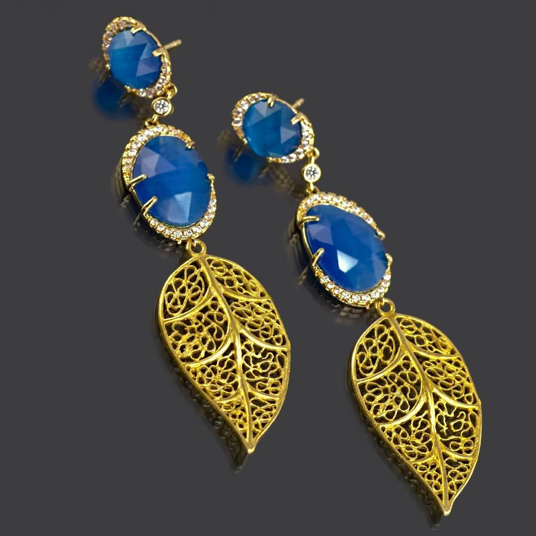 Blue Leaf Long Earrings - 3