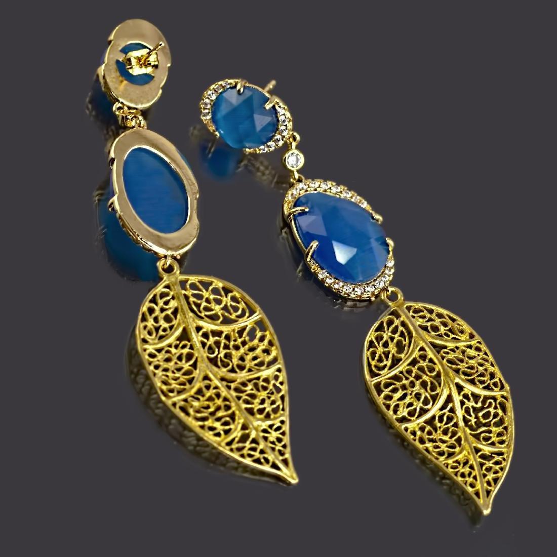 Blue Leaf Long Earrings - 4
