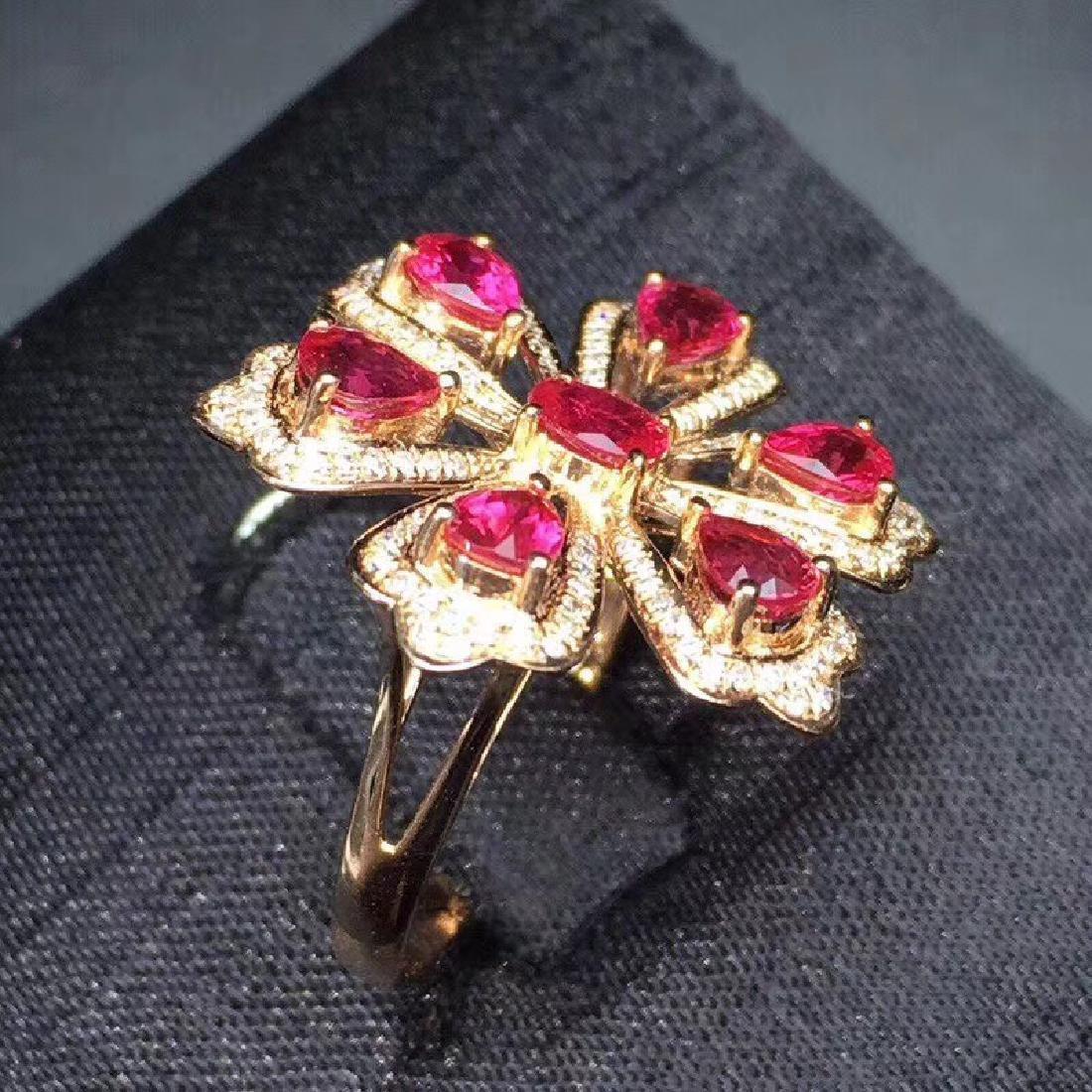 2.3 CTW Ruby & VS Diamond Ring 18K - 4