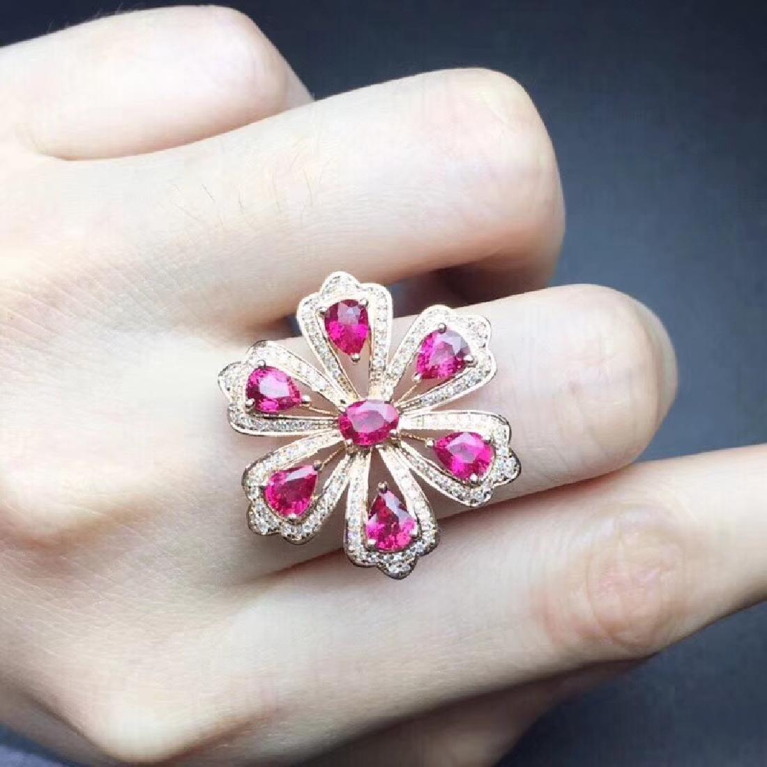 2.3 CTW Ruby & VS Diamond Ring 18K - 6