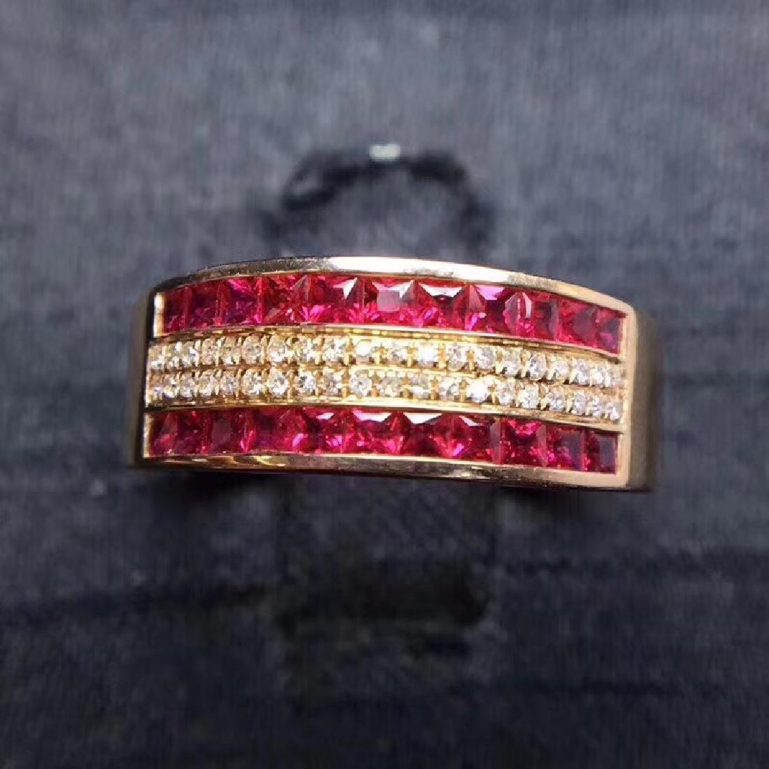 1.15 CTW Ruby & VS Diamond Ring 18K
