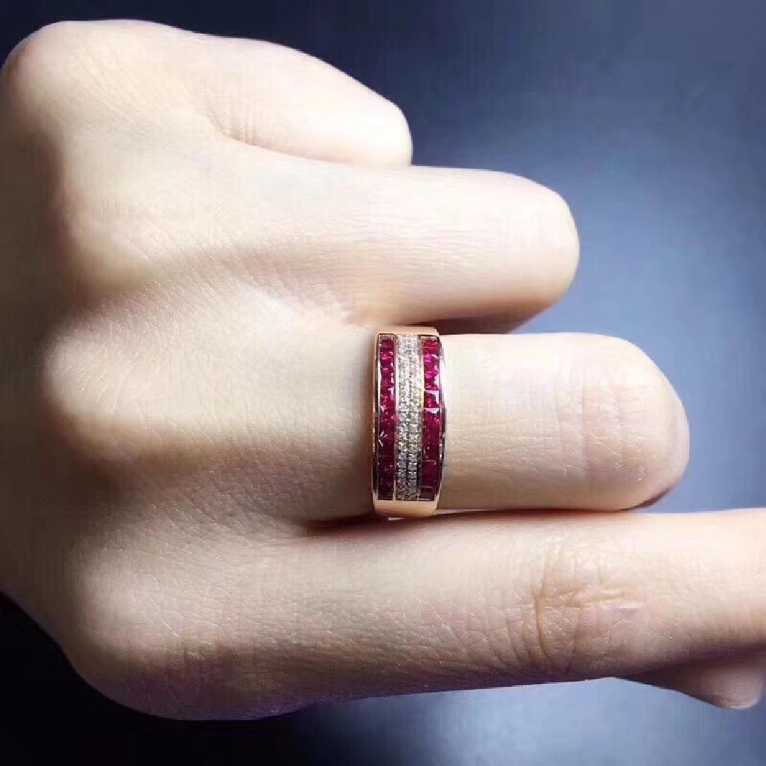 1.15 CTW Ruby & VS Diamond Ring 18K - 4