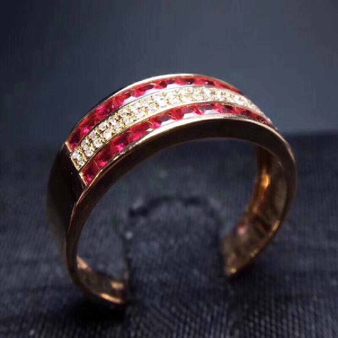 1.15 CTW Ruby & VS Diamond Ring 18K - 5
