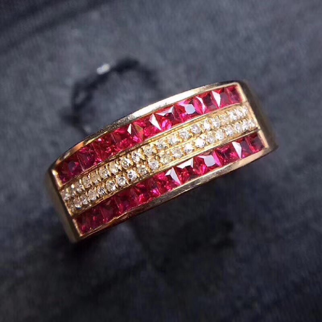 1.15 CTW Ruby & VS Diamond Ring 18K - 8