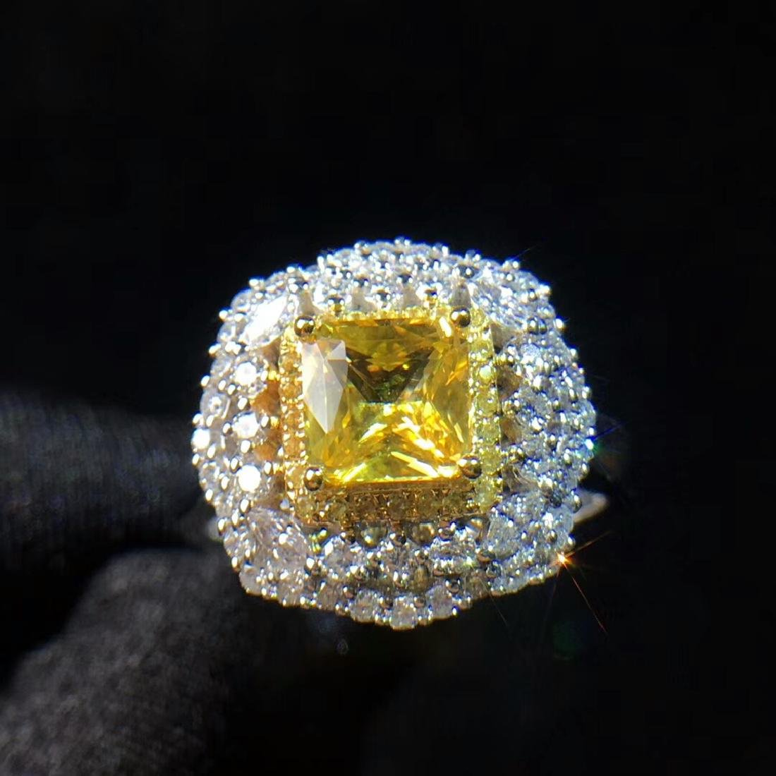 1.21ct Yellow Sapphire Ring in 18kt Rose Gold