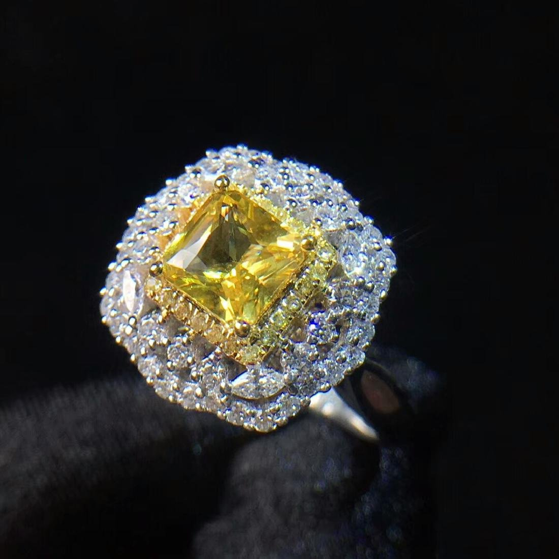 1.21ct Yellow Sapphire Ring in 18kt Rose Gold - 3
