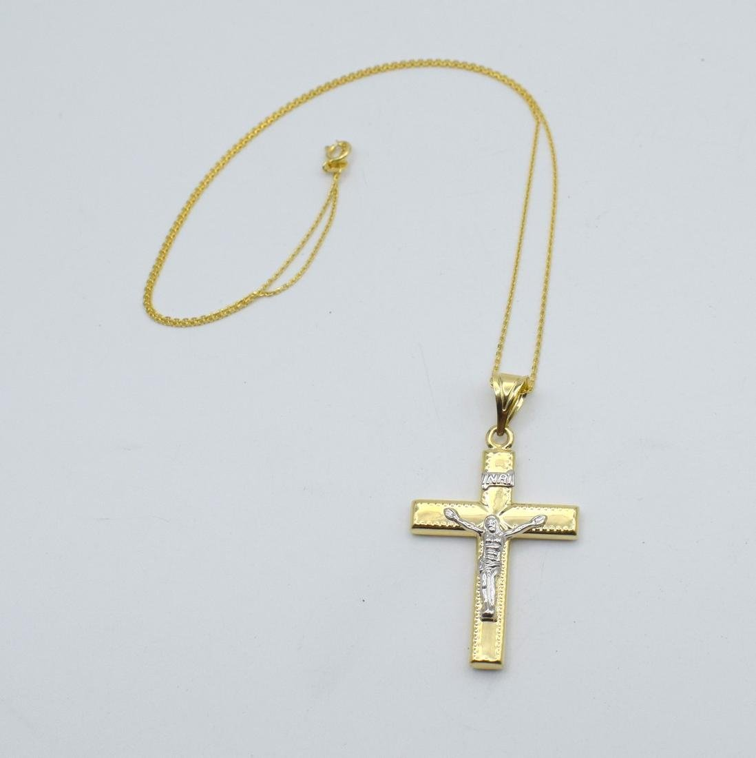 14 Carat yellow gold chain with cross pendant - 10