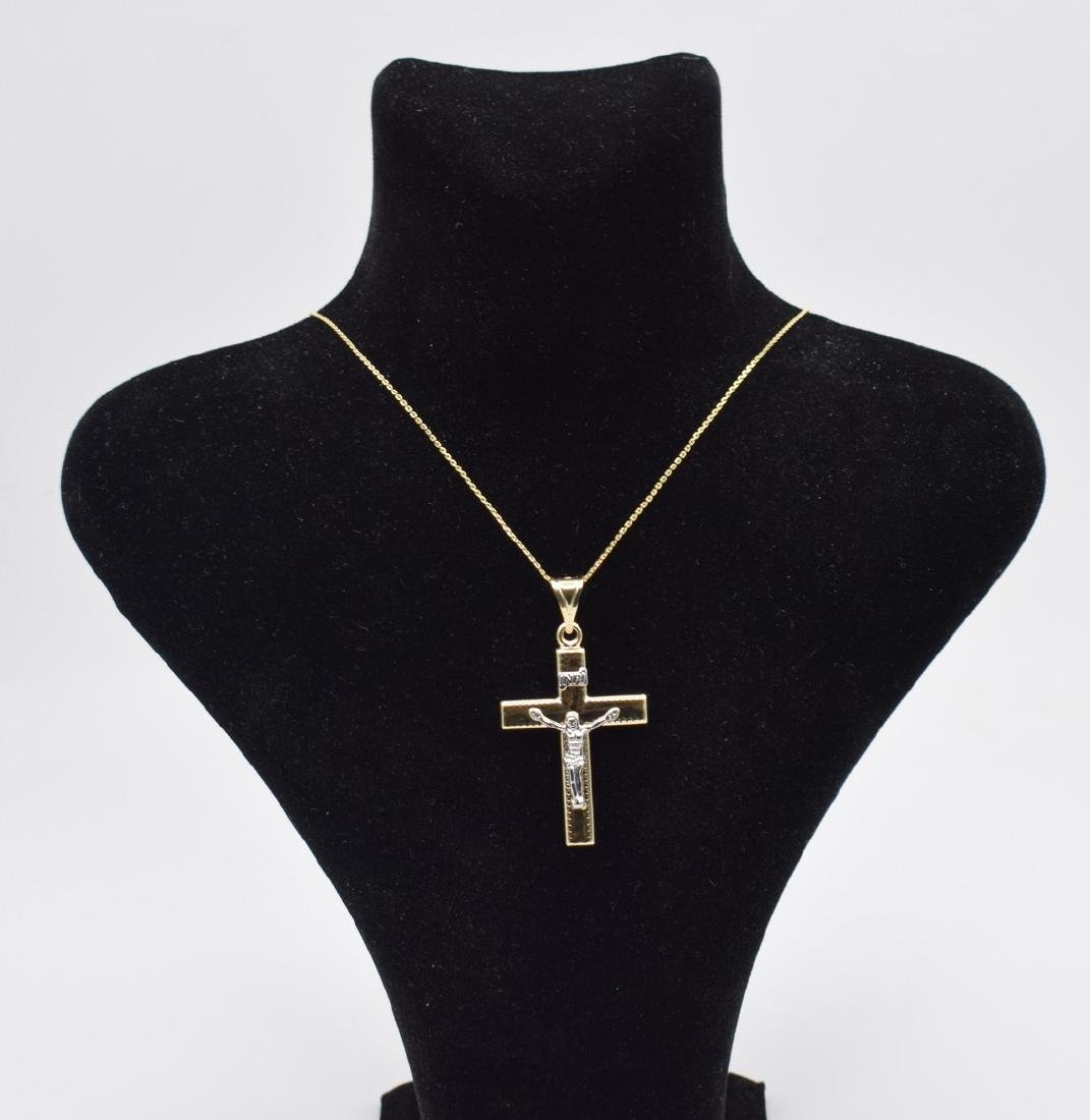 14 Carat yellow gold chain with cross pendant