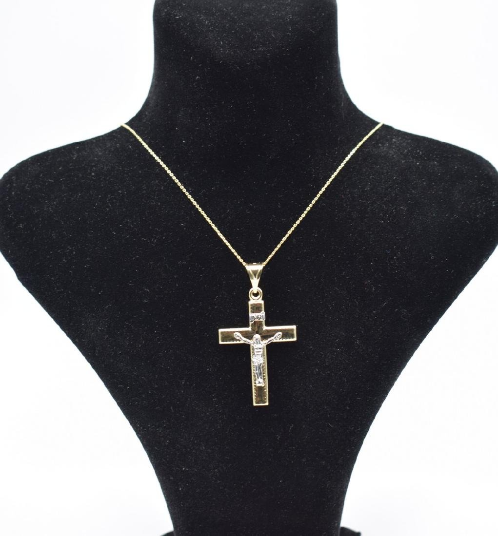 14 Carat yellow gold chain with cross pendant - 2
