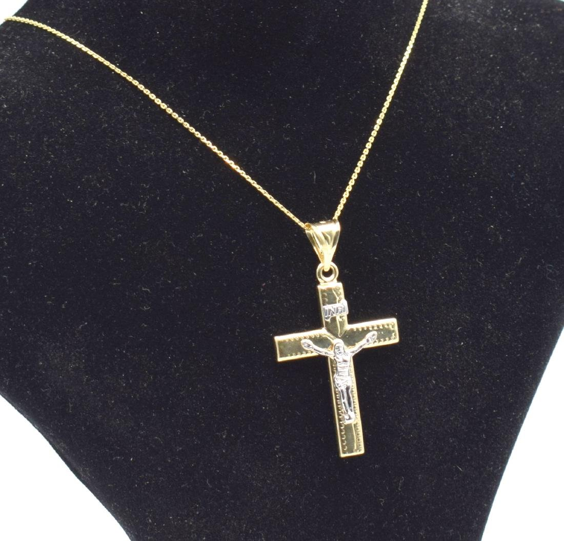 14 Carat yellow gold chain with cross pendant - 3