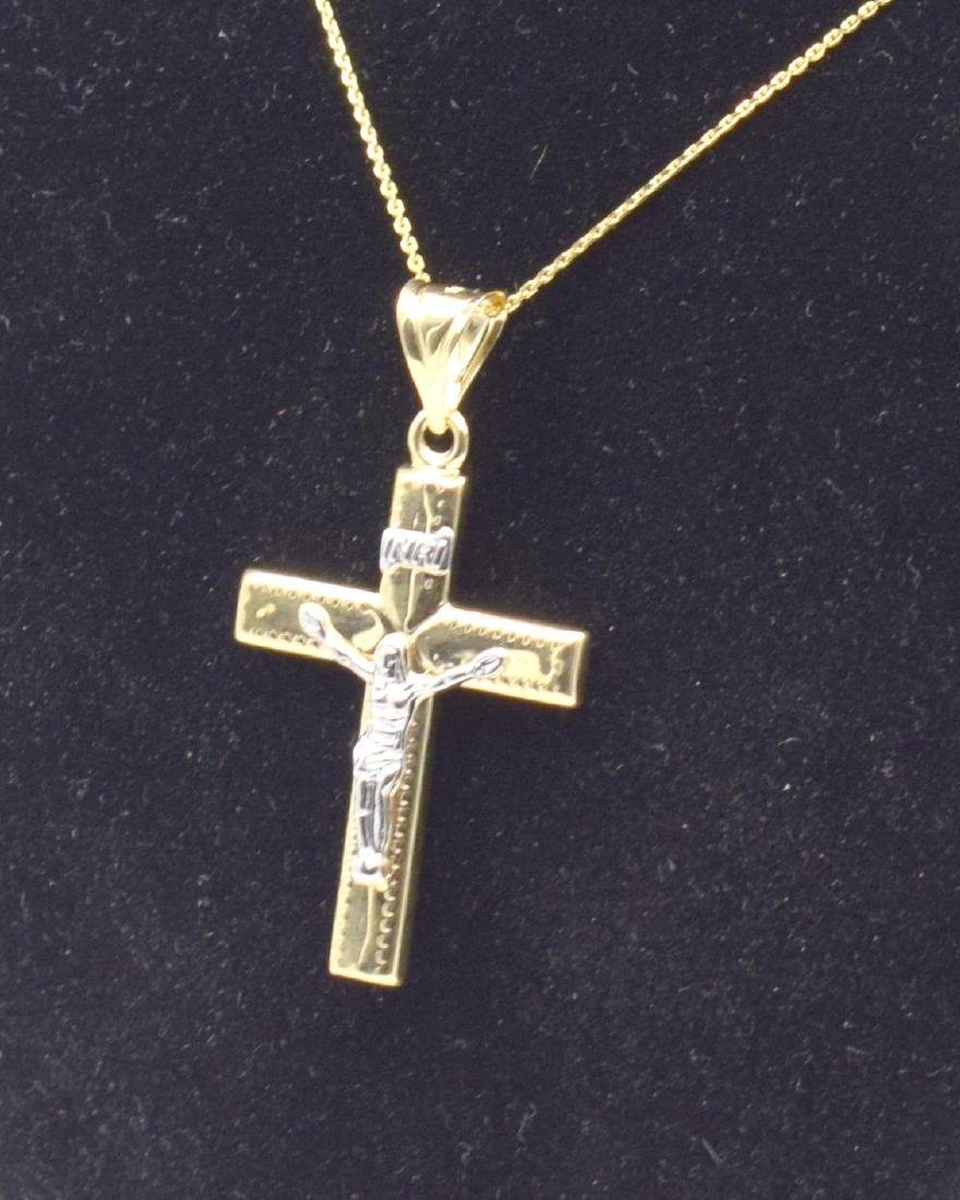 14 Carat yellow gold chain with cross pendant - 4