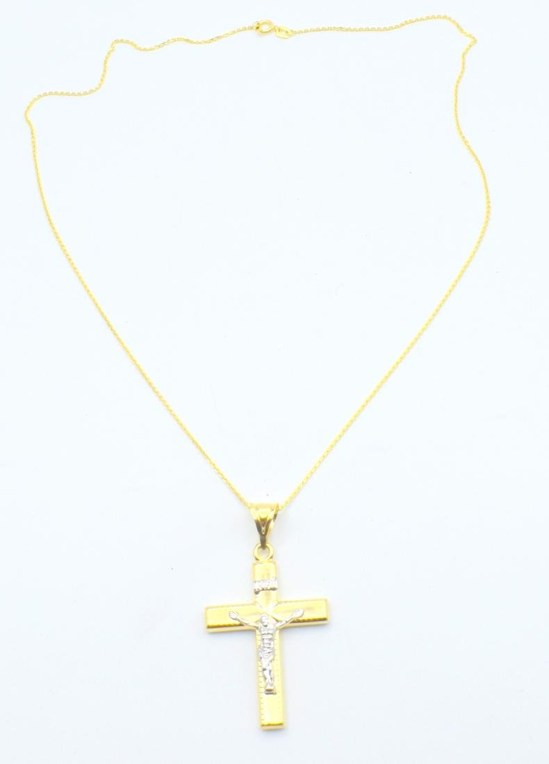 14 Carat yellow gold chain with cross pendant - 6