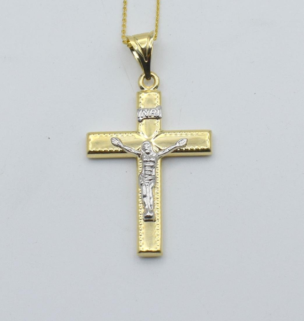14 Carat yellow gold chain with cross pendant - 7