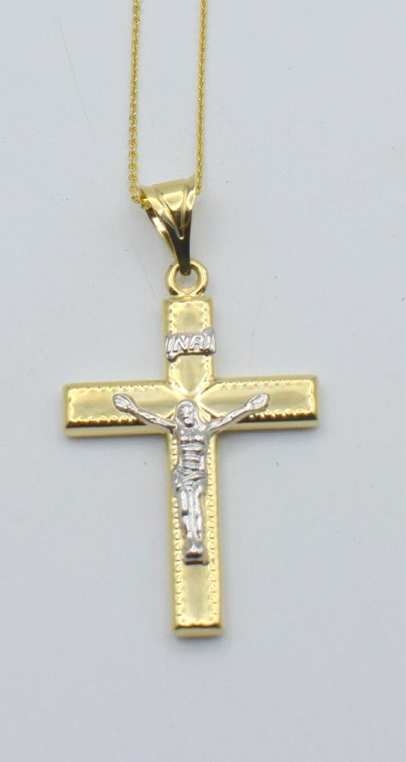 14 Carat yellow gold chain with cross pendant - 8