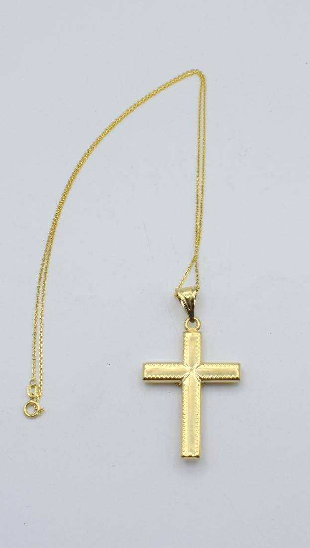 14 Carat yellow gold chain with cross pendant - 9