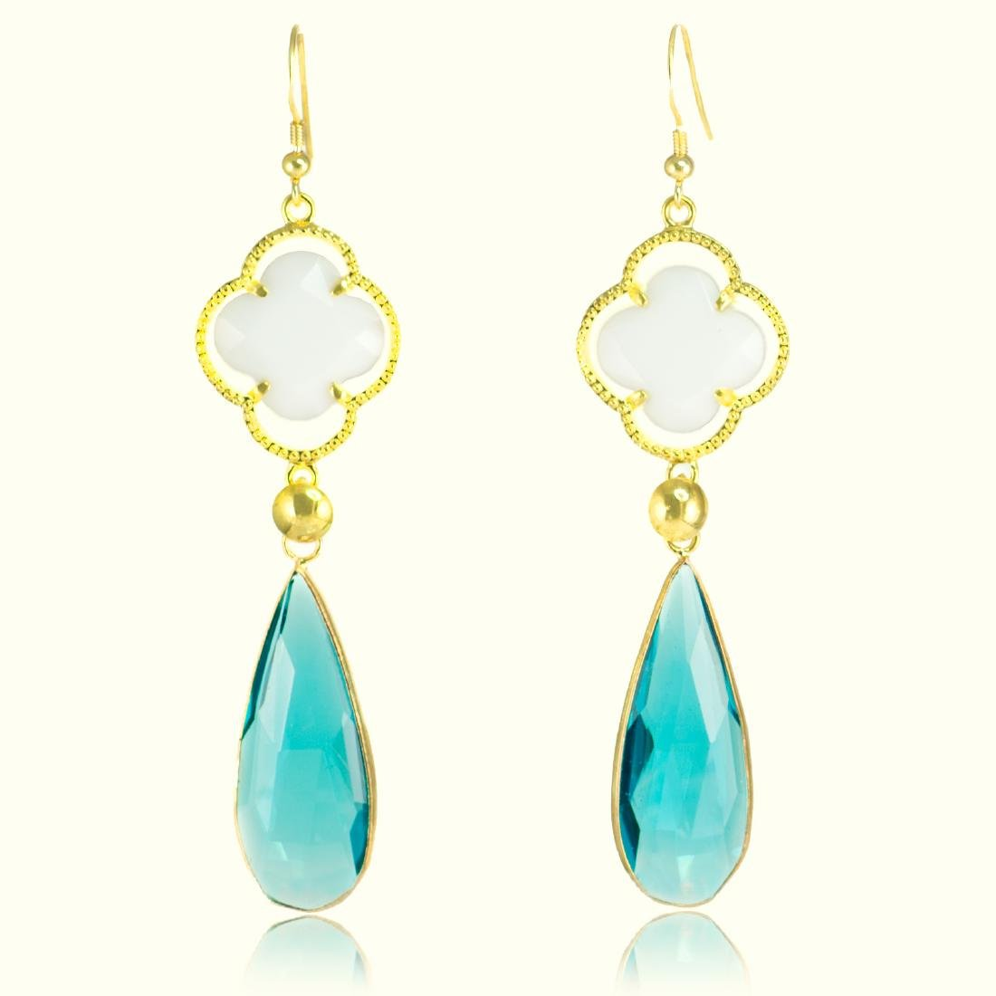 Long Drop Blue and White Earrings