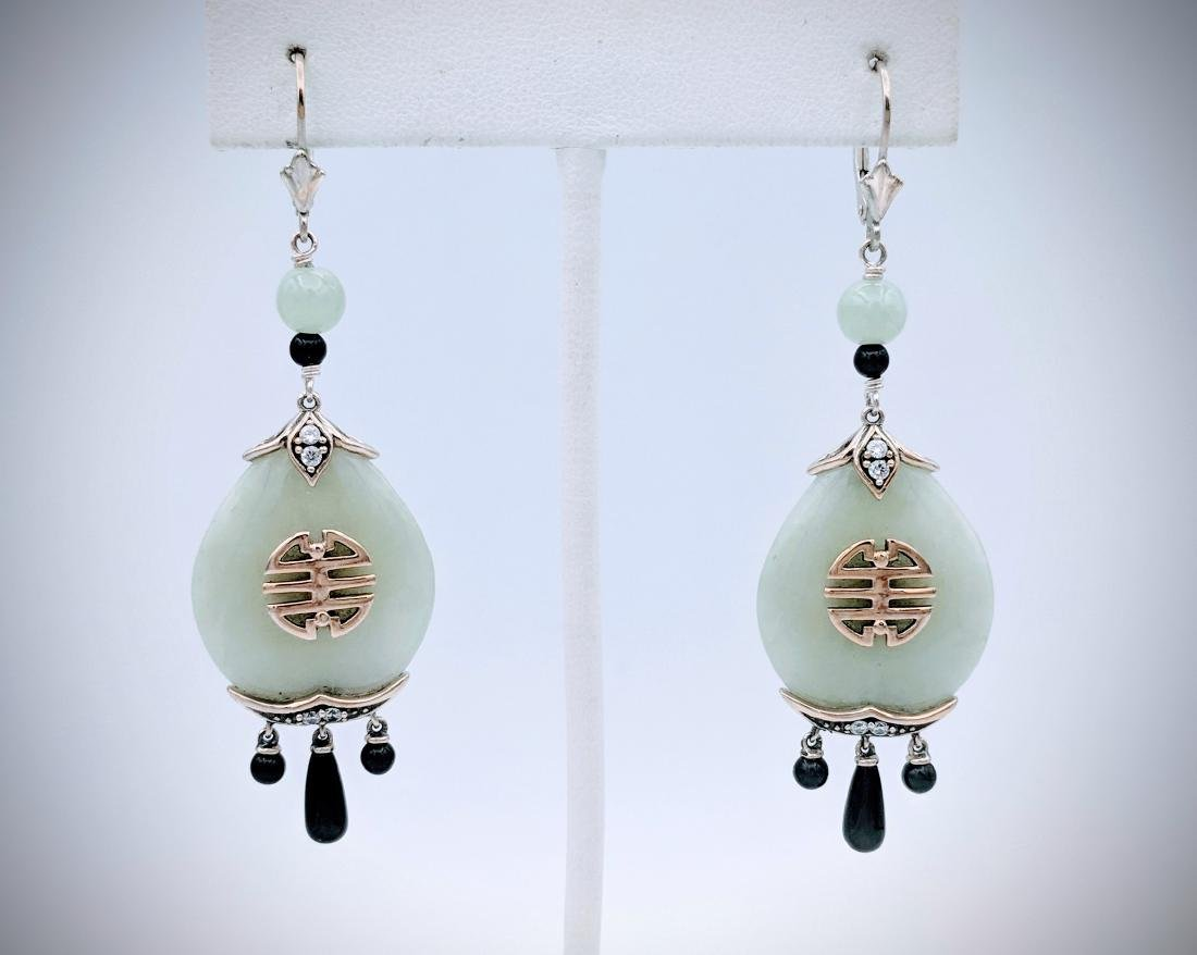 Sterling Silver Imperial Designed Earrings with Jade,