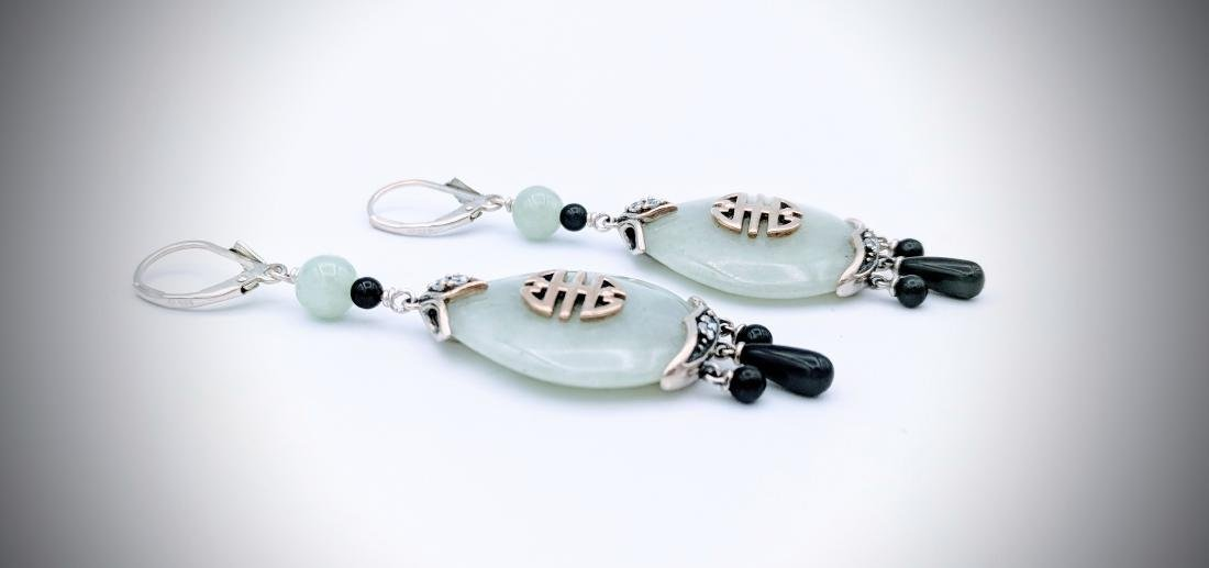 Sterling Silver Imperial Designed Earrings with Jade, - 2