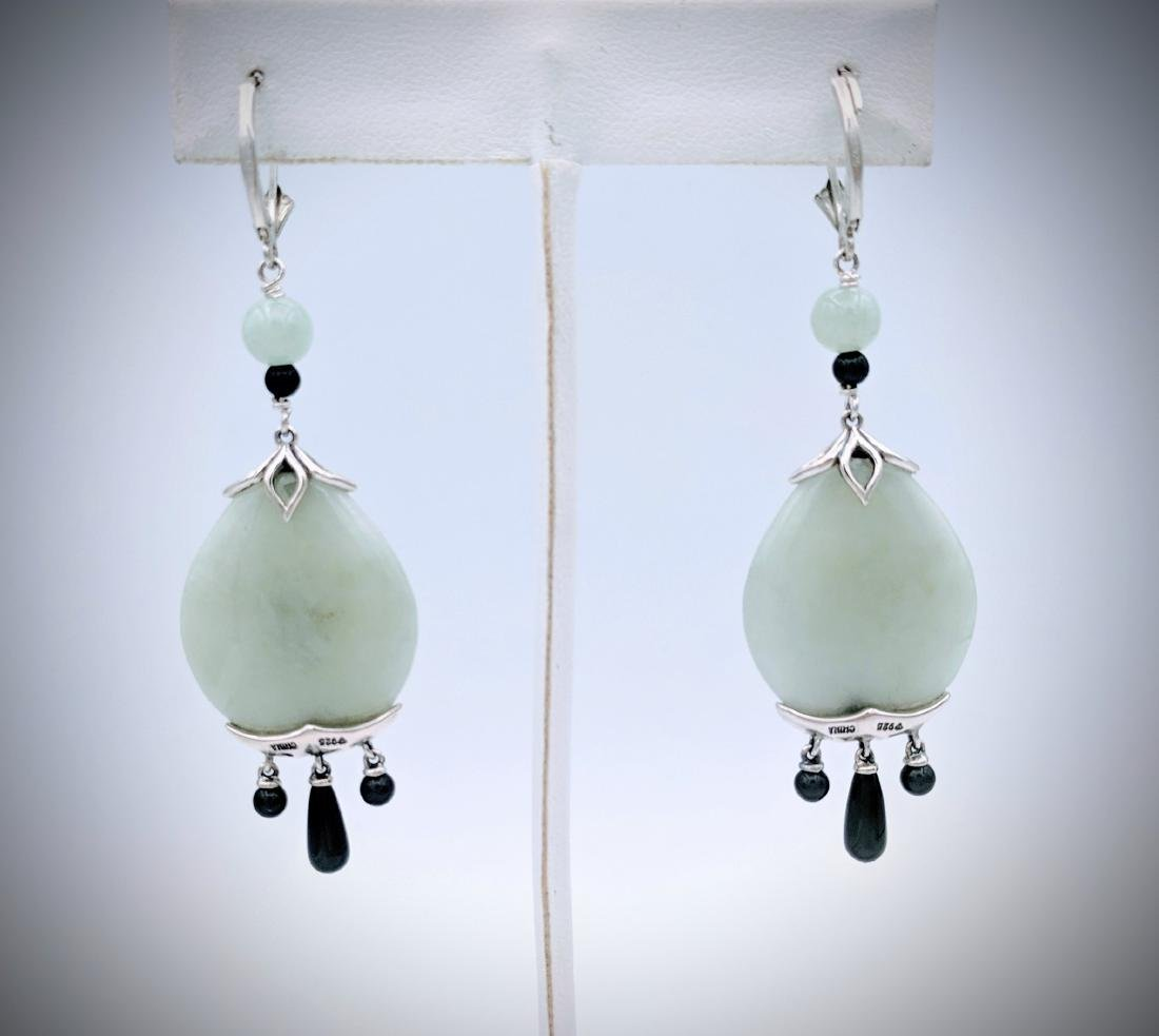 Sterling Silver Imperial Designed Earrings with Jade, - 3