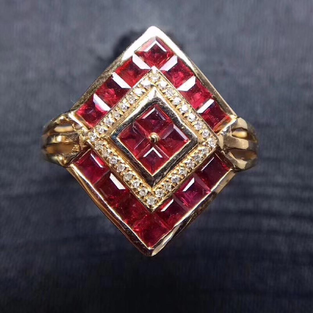 2.34 CTW Ruby & VS Diamond Ring 18K