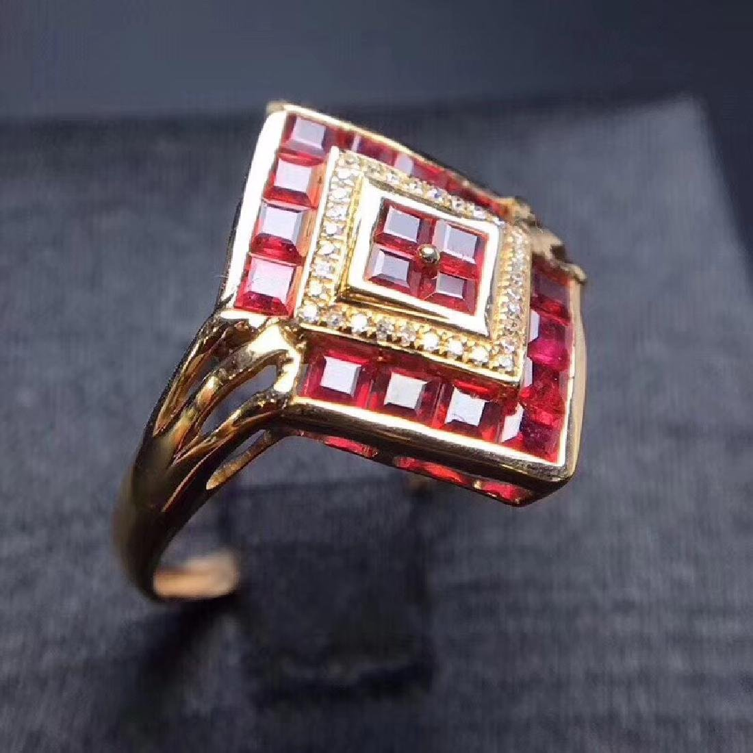 2.34 CTW Ruby & VS Diamond Ring 18K - 4