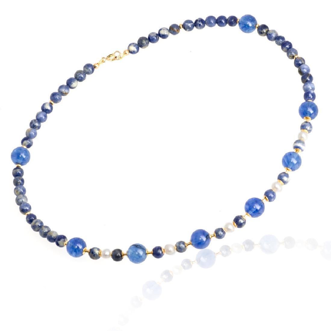 Sodalite and Capri quartz necklace with Pearls - 2