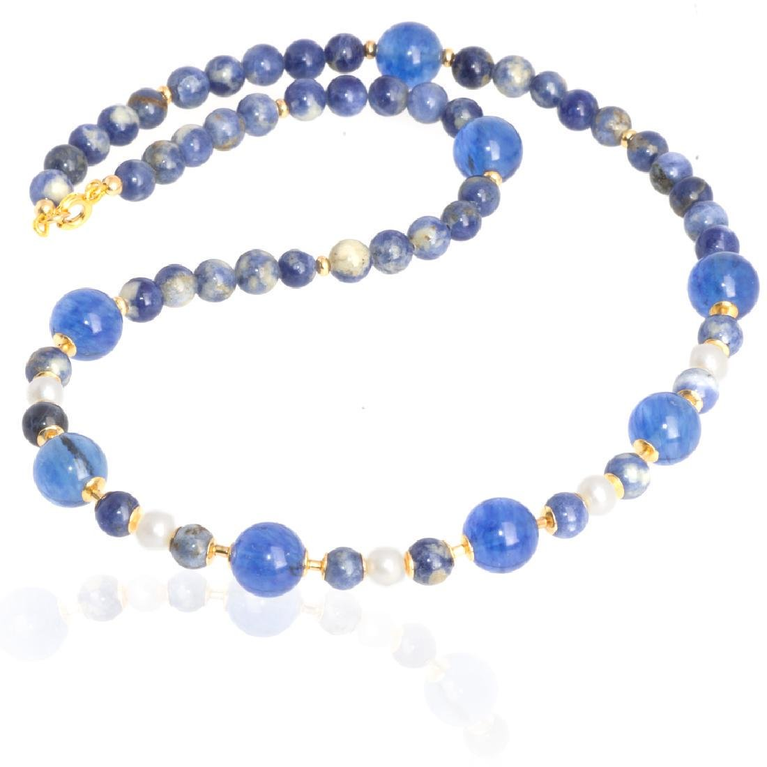 Sodalite and Capri quartz necklace with Pearls - 3