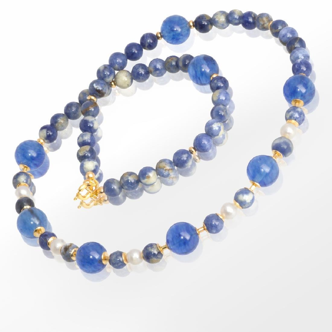 Sodalite and Capri quartz necklace with Pearls - 4