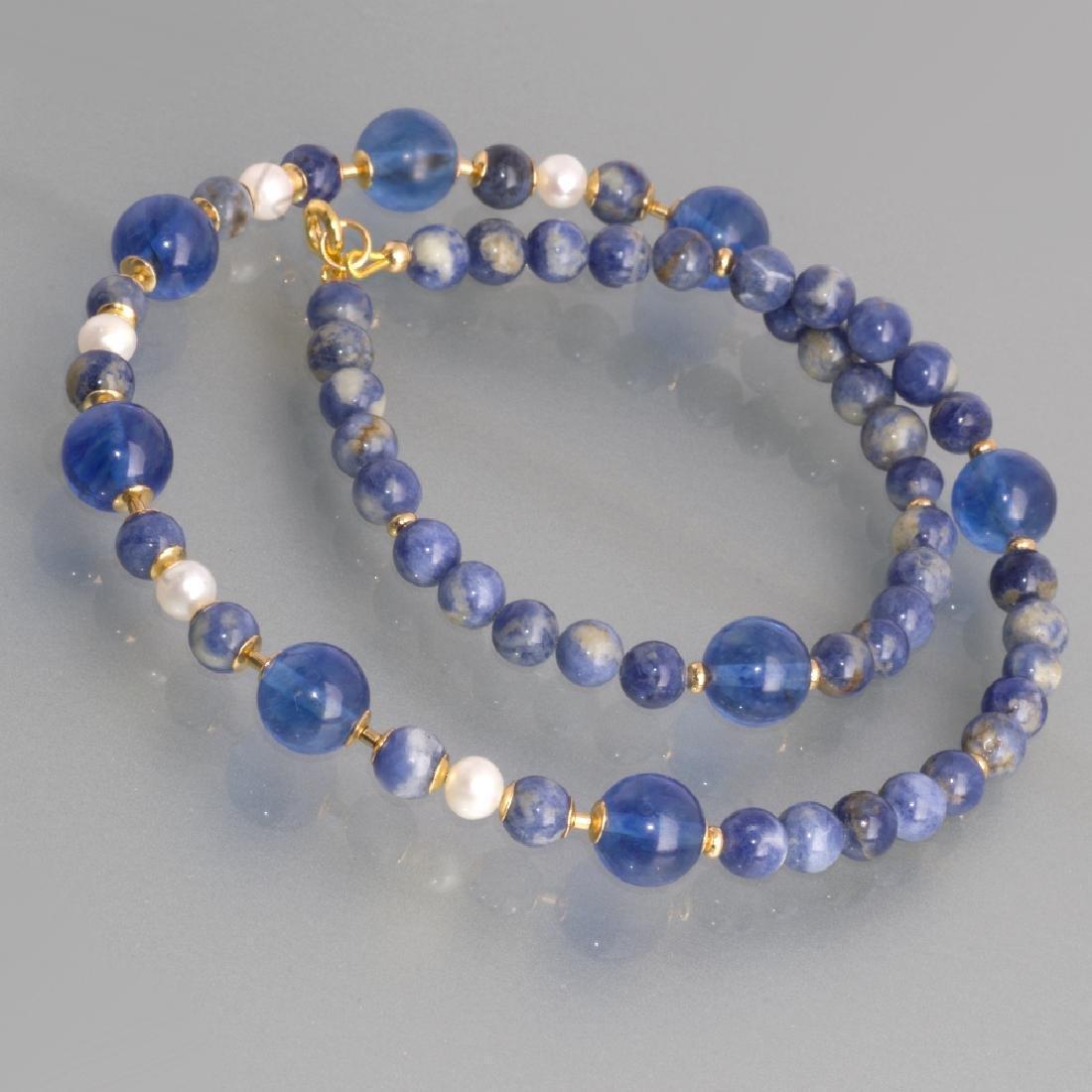 Sodalite and Capri quartz necklace with Pearls - 5