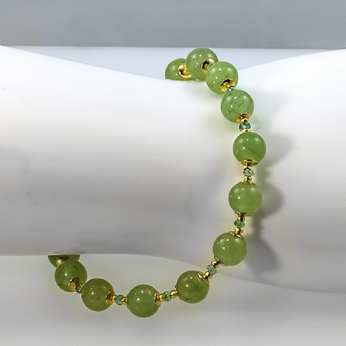 Nephrite and Emeralds 1.55ctw Bracelet