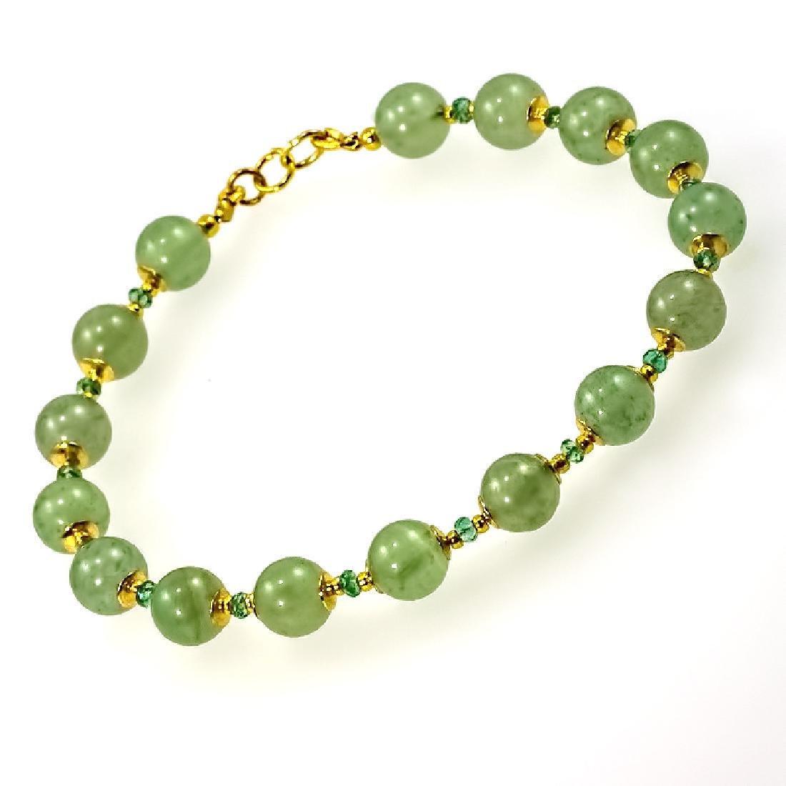 Nephrite and Emeralds 1.55ctw Bracelet - 2