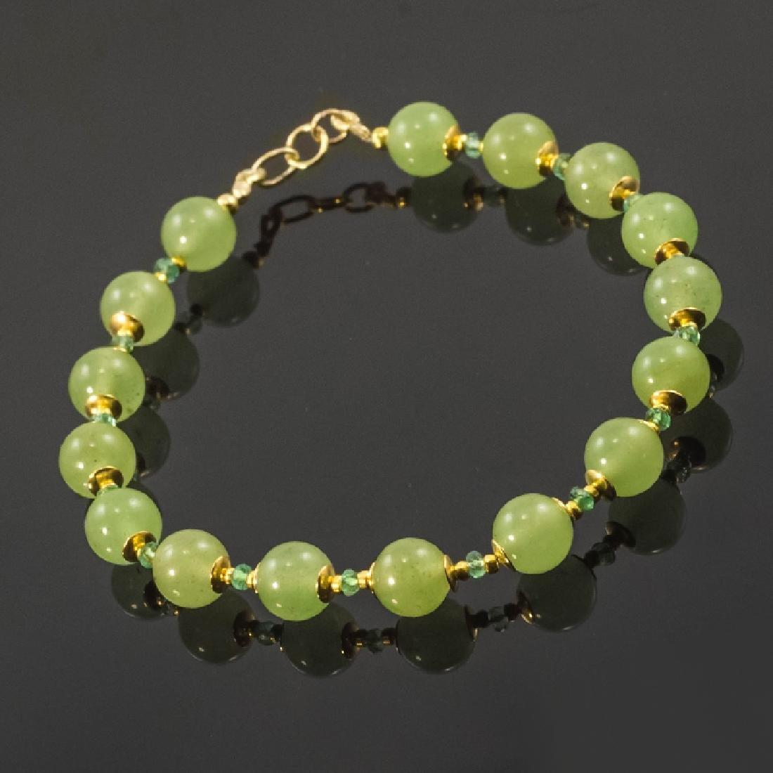 Nephrite and Emeralds 1.55ctw Bracelet - 3