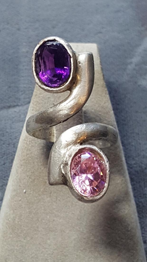 925 Tourmaline/Amethyst Ring
