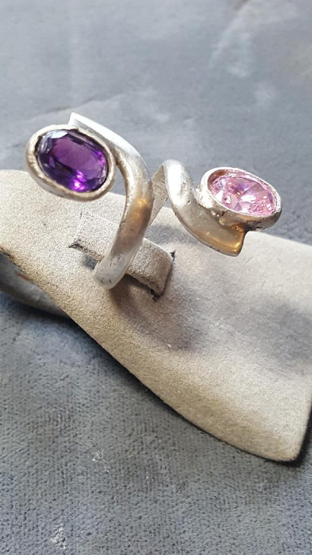 925 Tourmaline/Amethyst Ring - 2